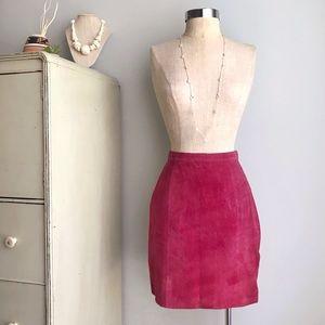 VINTAGE Leather Suede Fuschia Pink Mini Skirt
